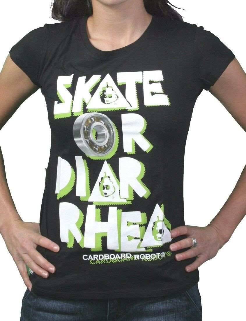 Cardboard Robot da Donna Nero Skate O Diarrhea Skate T-Shirt Nwt