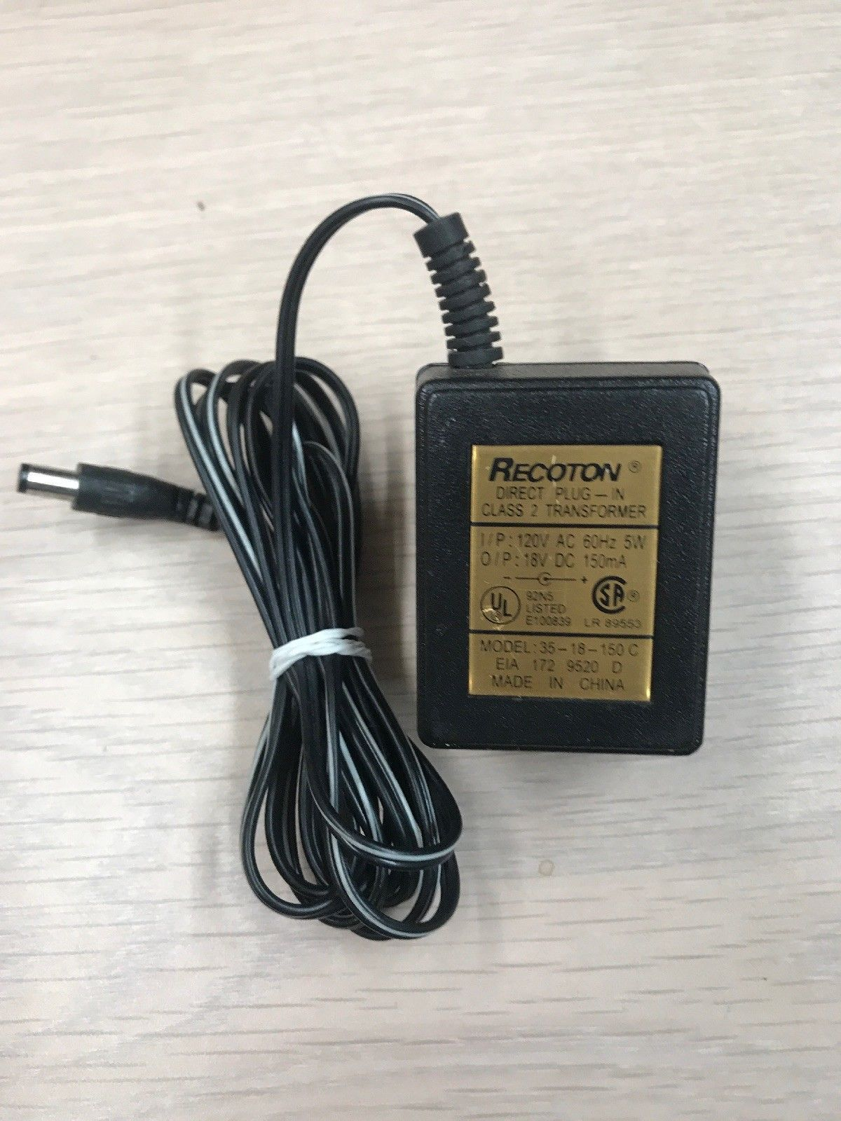 Recoton 35-18-150 C AC Power Supply Adapter 18V DC 150mA -Tested-           (E5)