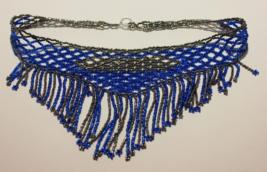 "Handmade beaded necklace 16 1/4"" Blue/steel - $55.00"
