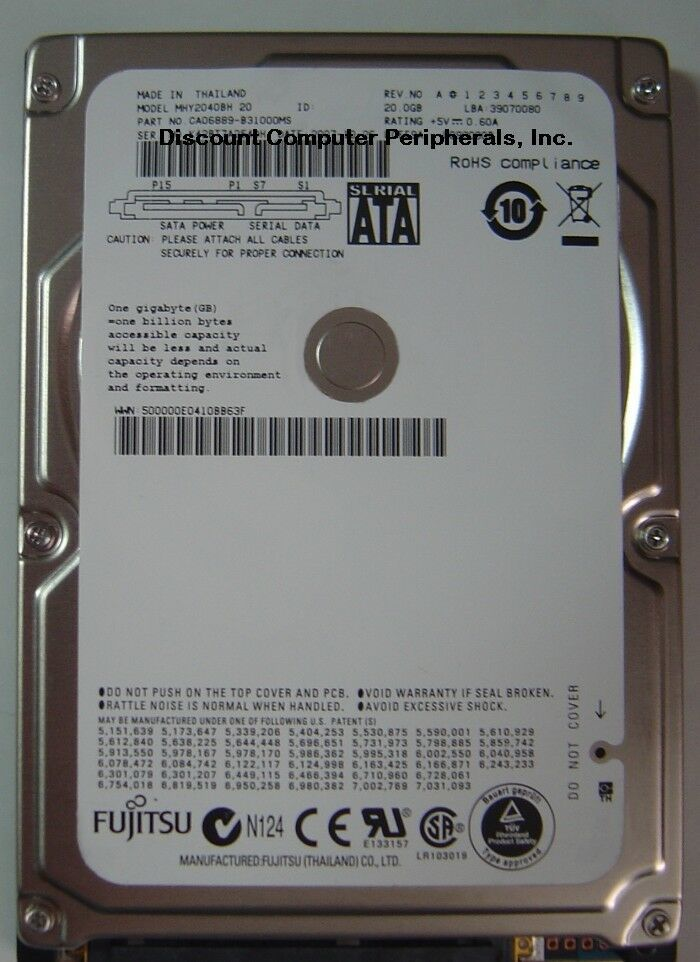 NEW MHY2020BH Special 20GB SATA 2.5in Hard Drive Free USA Shipping