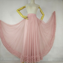 Pink Layered Tulle Ruffle Skirt Pink Bridesmaid Tulle Skirt Plus Size image 2