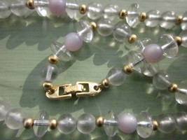 """NAPIER VINTAGE NECKLACE 24"""" STRAND of GLASS-LIKE CLEAR and FROSTED BEADS - $12.34"""