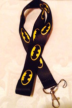 Batman Signal Black and Yellow  Lanyard Strap One Piece Cell Phone Key Chain NEW