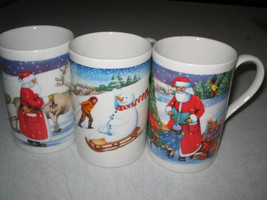 Dunnon CHRISTMAS Mugs Cups Santa Snowman 3-pc lot - $14.07
