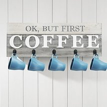 Barnyard Designs 'Ok, But First Coffee' Mug Holder - Rack - Display, Rustic Farm image 2