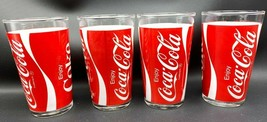 "4 VTG Original Coca Cola Coke Glass Red & White 5"" Advertising Promo Tum... - $37.95"