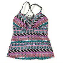 Coastal Blue Womens Swimwear Tankini Top Lace Up Front Geometric Cups Pi... - $12.59