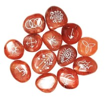 Red Carnelian Red Set Witches Rune's Symbol -13 Pieces - $22.99