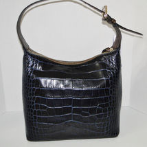 Dooney & Bourke Paige Sac Leather Croco Emb Hobo Blue image 12