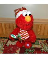 Sesame Street Elmo Animated Christmas Santa Dancing Singing Plush New See Demo - $24.48