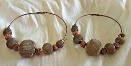 Vintage HUGE Hoop Earrings with Mesh Beads 4 Inches - $4.75