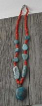 Navajo Coral Turquoise Bead Necklace - $48.51