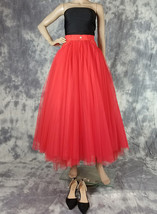 Women Red Long Tulle Skirt High Waist Tulle Skirt with Pockets Tulle Party Skirt