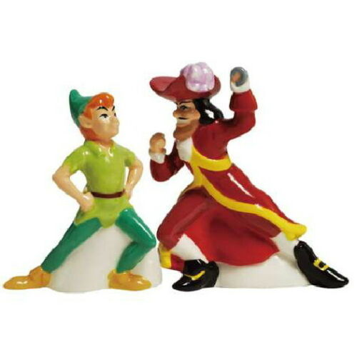 Primary image for Walt Disney Peter Pan & Captain Hook Ceramic Salt and Pepper Shakers Set NEW