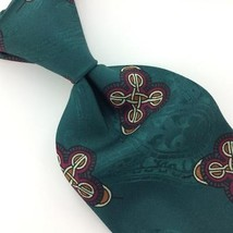 VINTAGE ROBERT TALBOTT TIE GEOMETRIC NARROW Green Brown Silk Necktie Tie... - $15.83