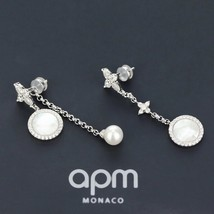 BNIB AUTHENTIC APM MONACO Asymmetric Eternelle Dropping Earrings With Pearl  image 6