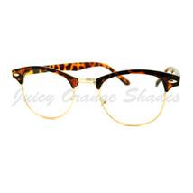 Truly Vintage Clear Lens Glasses Round Half Horn Rim Eyeglasses - $9.95
