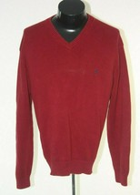 Polo Ralph Lauren Sweater Mens XL V-Neck Long Sleeve Cotton Red - $12.82