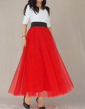 A Line RED Tulle Skirt with Pockets Women High Waist Tulle Skirt Red Party Skirt image 10