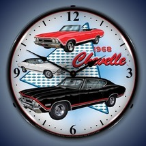 New old 1968 Chevrolet Chevelle muscle cars LIGHT UP clock  USA made  Fa... - $129.95