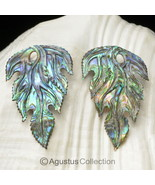 Multicolor PAUA ABALONE SHELL Iridescent Floral Design Earring PAIR 2.51 g - $38.32