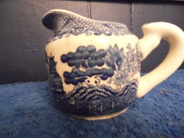 Vintage Antique  Blue White Pitcher from Japan Birds Homes - $14.85