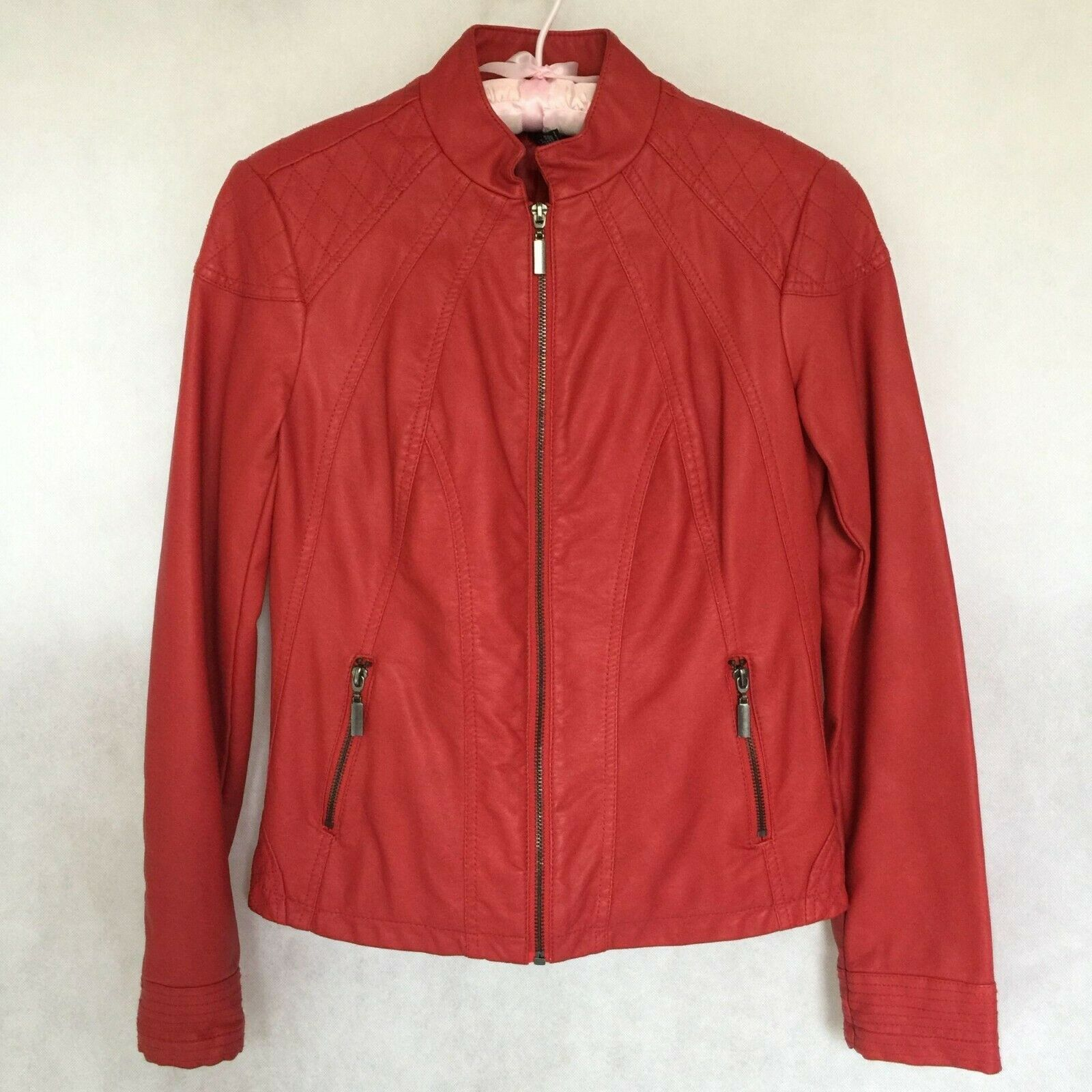 Primary image for Alfani Red Faux Leather Vegan Moto Bomber Jacket Size XS Lined Pockets Zip Up