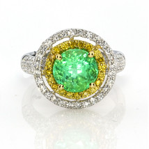 Real 3.67ct Verde Natural Esmeralda y Diamantes Compromiso Anillo 18K Or... - $5,211.42