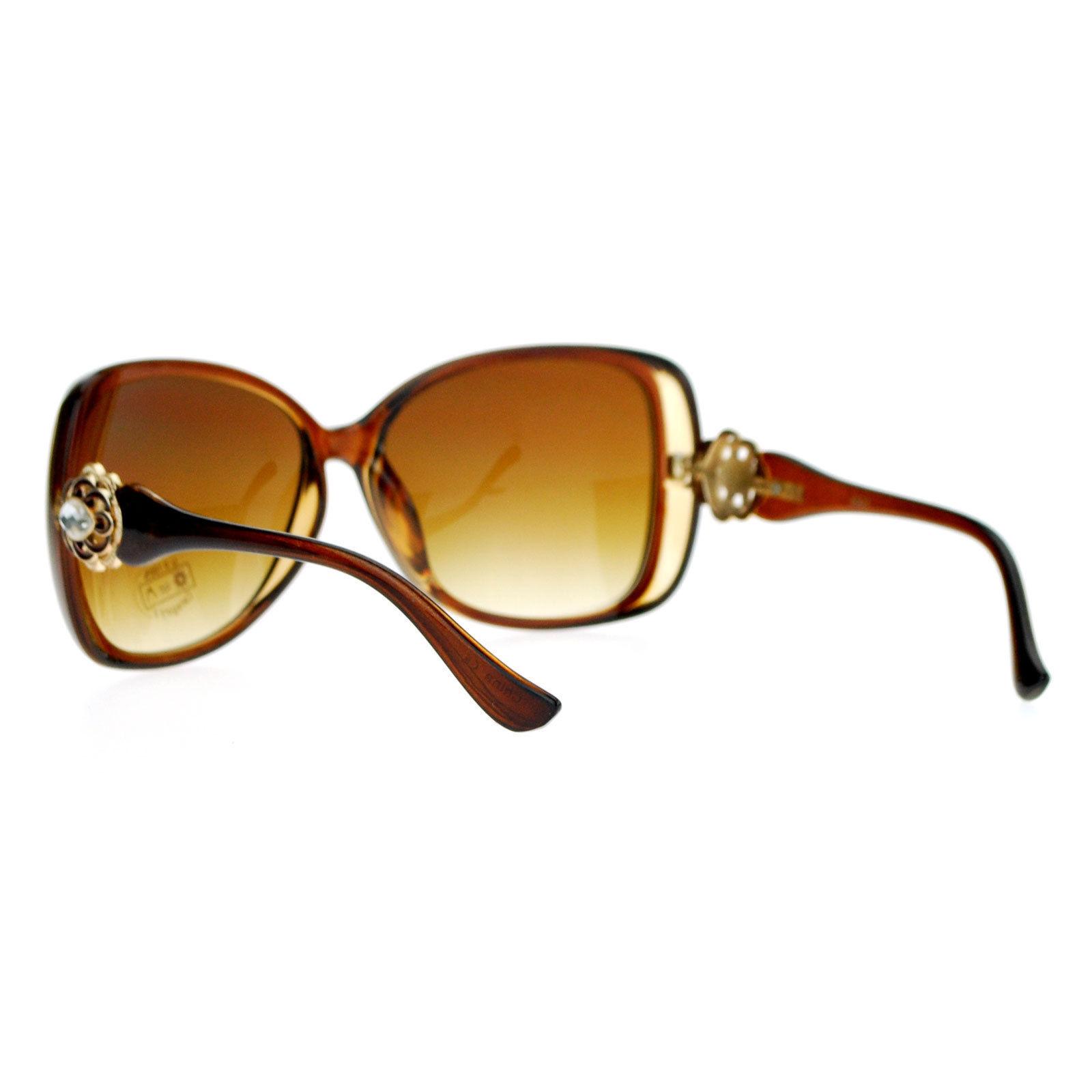 Vintage Jewel Design Sunglasses Womens Oversized Square Fashion Shades