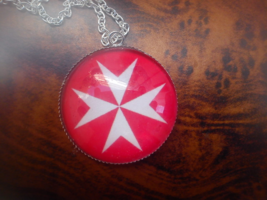 Ancient Protection Symbol of The Knights Templar's Red Equal Cross Pendant.  - $39.99