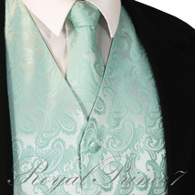 Aqua Mint Green XS to 6XL Paisley Tuxedo Dress Vest Waistcoat & Neck tie... - $20.77+