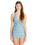 Jessica Simpson Women's Desert Diamond Retro One-Piece Swimsuit, Marine,... - $49.57