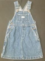 Osh Kosh Denim Jumper 6 Bibbed Blue Jean Dress Retro Style Pockets Carpenter - $11.87