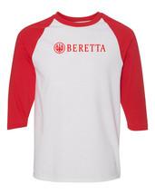 Beretta Script Red Logo Raglan Baseball T Shirt Pro Gun Rights Pistol Wh... - $19.79+