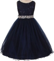 Flower Girl Dress Glitters Sequin Top Rhinestone Sash Navy MBK 340 - $47.99