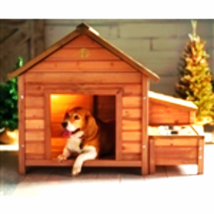 Solid Wood A-Frame Outdoor Dog House with Food Bowl and Storage - $245.95