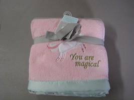 Just Born Baby Girl You are Magical Unicorn Blanket Plush Fleece Aqua Sa... - $59.37