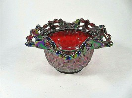 Fenton Vintage Ruby Red Carnival Glass Iridescent Basket Weave Bowl Cut ... - $46.39