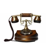 Phone Fixed Vintage Of Wood Metal Antique Retro With Cable & Disc Marking - $359.98