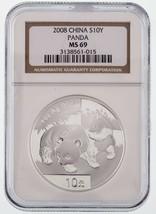 2008 China S10Y Silber Panda Ausgewählten von NGC As MS69 - $59.33