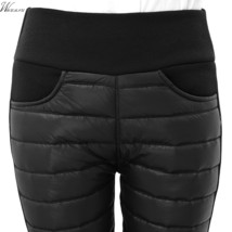 Thicken down Cotton Winter Warm Pants Women Elastic Waist Ladies Skinny Trousers - $12.18