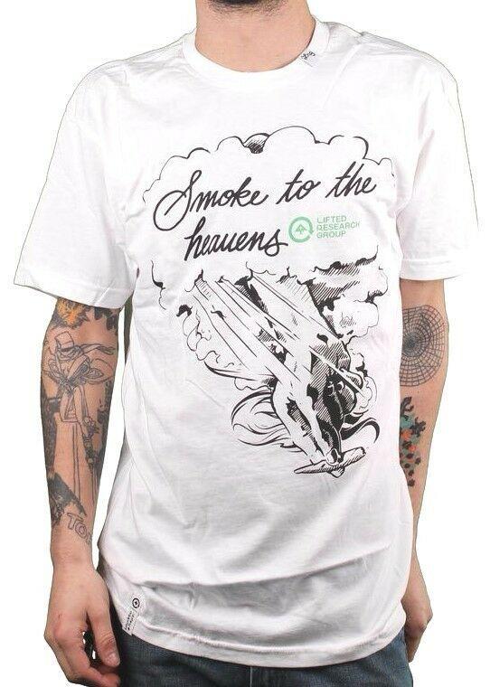 LRG Hombre Blanco Humo A Los Cielos Hierba Marihuana Junta Ajustado Camiseta Nwt