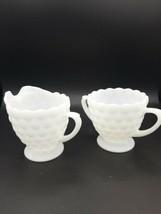 Vintage Anchor Hocking Bubble Pattern Milk Glass Creamer and Sugar Bowl... - $10.00