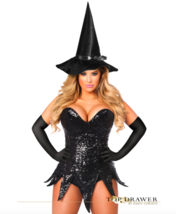 2X-3pc Daisy Corsets Black Sequin Daring Witch Costume-Corset Hat Gloves... - $70.11