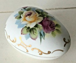 Lefton Easter Egg Painted Roses Trinket Box, Ring Box #426 Vintage - $7.56