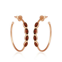 Handmade 18k Gold Plated 925 Silver Garnet Designer Hoop Earrings Jewelry - $30.32