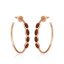 Handmade 18k Gold Plated 925 Silver Garnet Designer Hoop Earrings Jewelry - $30.32
