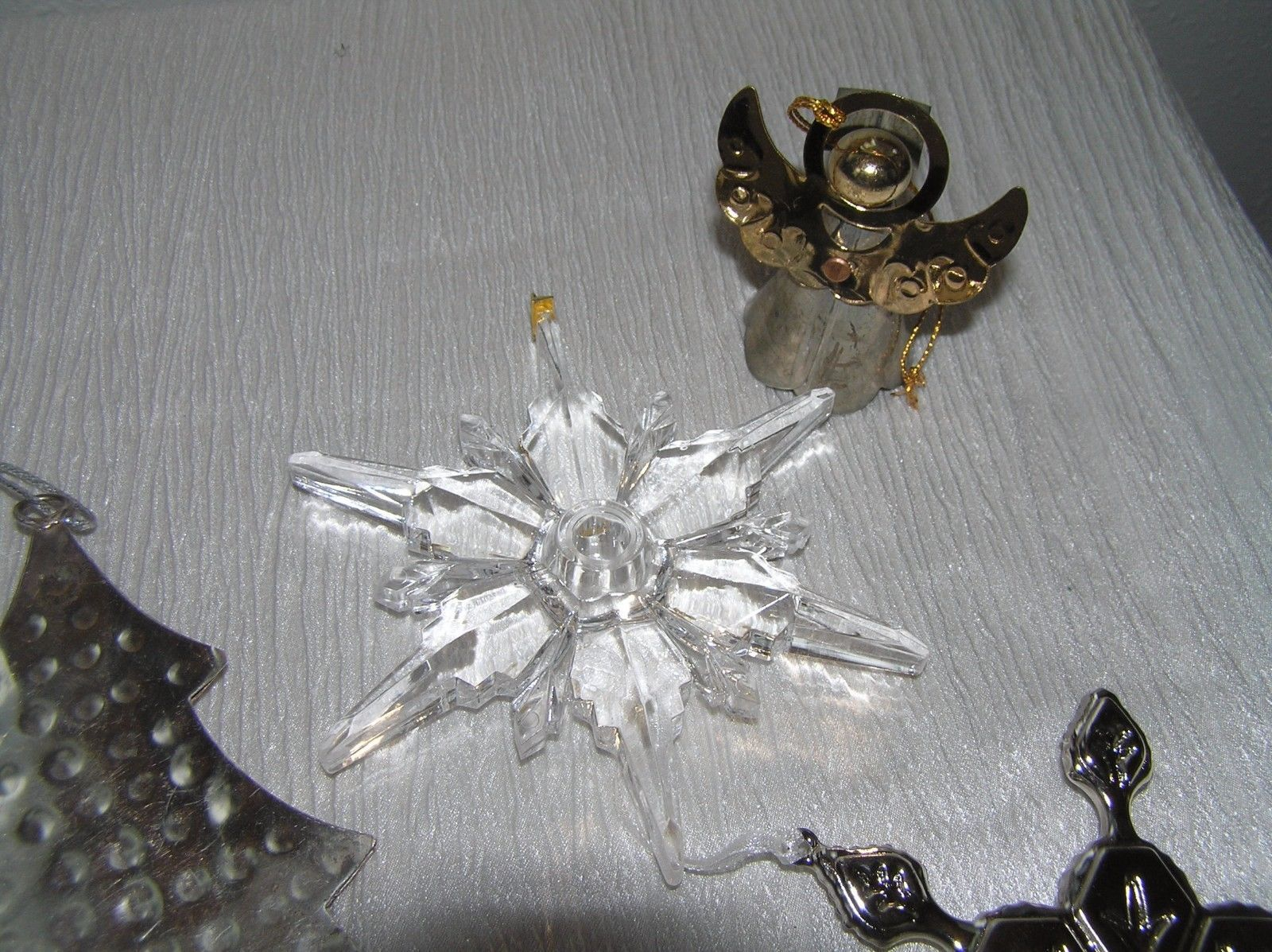 Lot of 4 Large Hammered Silvertone Christmas Tree Angel Stamped Snowflake &