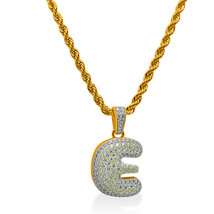 """925 Sterling Silver Gold Plated Custom Iced Out Bubble Letter """"E"""" with 24"""" Chain - $79.99"""