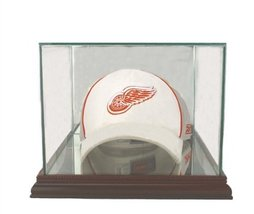 Perfect Cases MLB Cap/Hat Glass Display Case, Cherry image 1